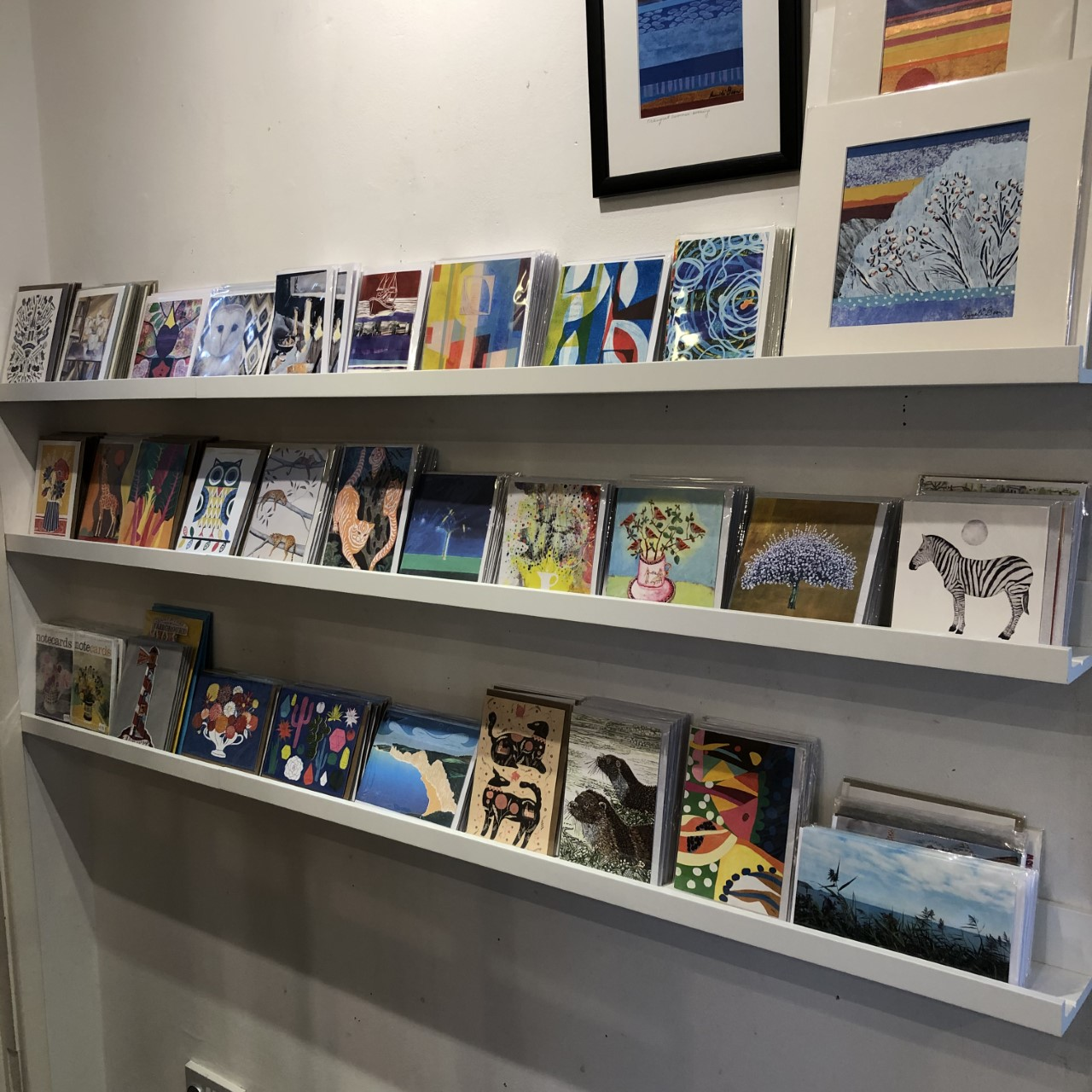 A fantastic selection of home made gift cards on show and available to buy in the gift shop at courtyard arts