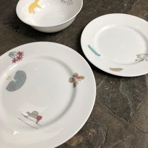 Picture of home made plates made available to buy at the courtyard arts gift shop
